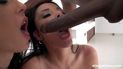 Black guy slides his fat dick in cunts of Anissa Kate and Clea Gaultier