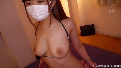 Japanese babe Hara Kanon gets gangbanged by lot of dudes. HD