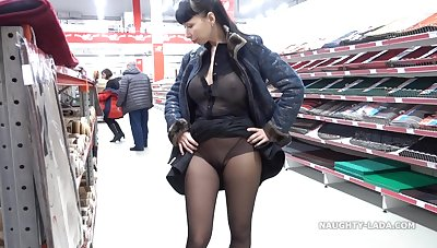 Naughty Russian MILF - Transparent outfit wide public shopping mall - Big tits