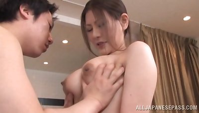 Messy creampie ending after amazing fucking at hand a Japanese cutie