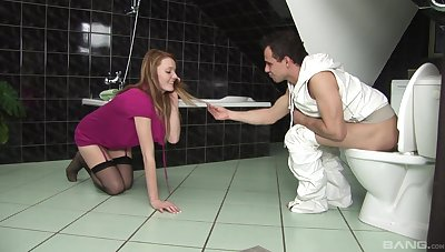 Redhead creamed on clit after sex in the bathroom