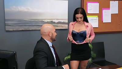 Nude busty brunette is shrewd for some office sex