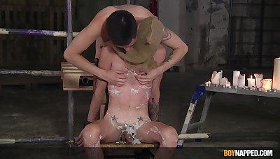 Maledom in rough gay BDSM aloft cam
