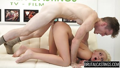 Rope bound cutie gets fucked hard from behind