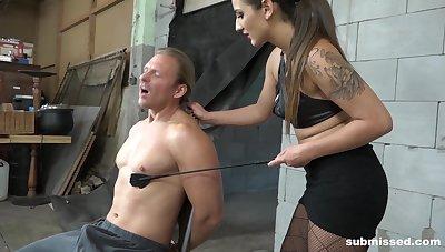 Dominant female treats her male slave with insane XXX fetish