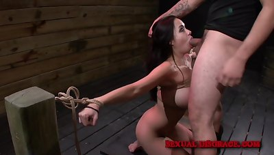 Kimmy Lee gives burnish apply whip blowjob on burnish apply dumfound while she is tied
