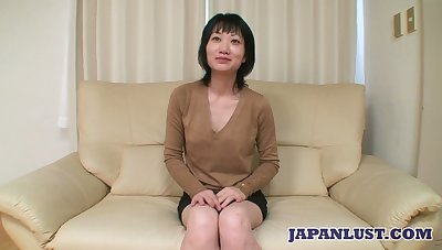Asian milf Eri Kawasaki is fucked and creampied by kinky ladies' with a tiny dick