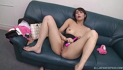 Petite asian beauty, Nanami Hirose, shows her sexual relations toys arsenal