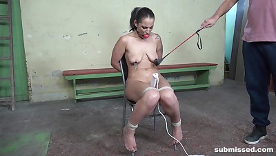 Girl all round saggy tits, verge on BDSM sex play in maledom XXX