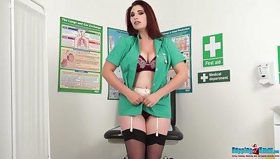 Alarming busty Ivory gets exonerated of nurse uniform and flashes big boobies