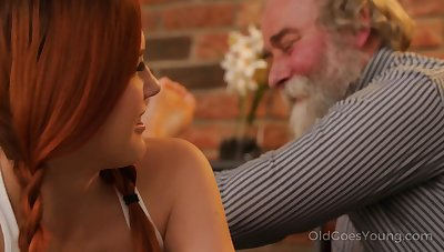 Talkative and fearless Czech nympho Charli Red lures older man for wild fuck