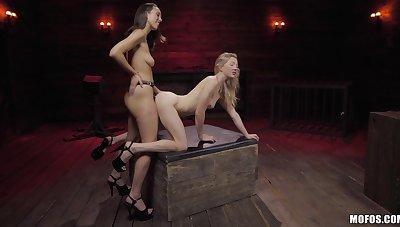 Strap-on fun during nancy fetish for two amateur models