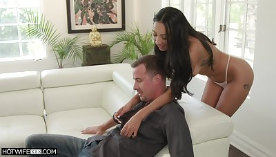 Tanned seductress Kiarra Kai gives a deepthroat blowjob and takes hard penis concerning wet pussy