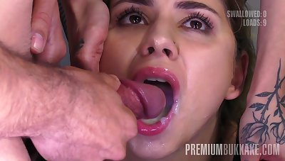 Premium Bukkake - Julie Overheated swallows 54 huge mouthful cum loads