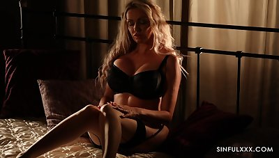 Erotic unique model Amber Jayne loves chaff with a striptease