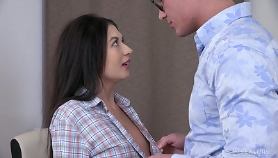 Dude kisses girl Roxy Ambiance fucking say no to wet shaved pussy missionary