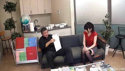 Passionate fucking on the sofa with soft pussy chick Saya Tachibana