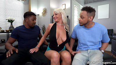 Two black bucks public sexy London River anent BBC double penetration
