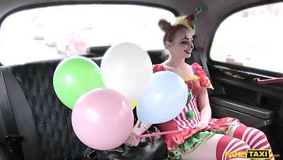 Kinky chick dressed as a clown enjoys riding a Obsolete horse-drawn hackney driver's gumshoe