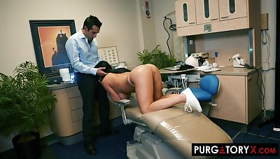 Smoking super-hot dark haired with huge bra-stuffers is having xxx bang-out with her fantastic dentist, in his office