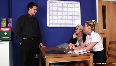 Blonde office MILFs are pleased to market garden the dick forth such action