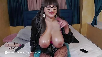 horny ugly mature in fishnets masturbating solo on webcam