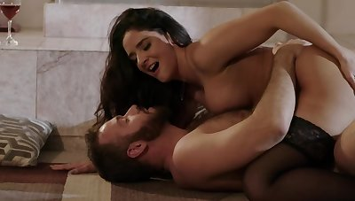 Sheena Ryder & Chad Wan are having sex by the fireplace