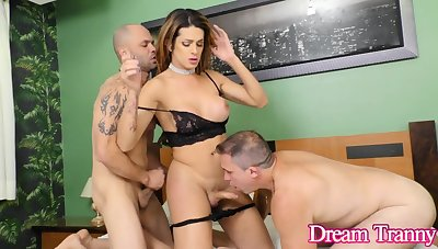 Hot TS Janaina Carvalho Takes on Two Guy in a Double Anal Three Way